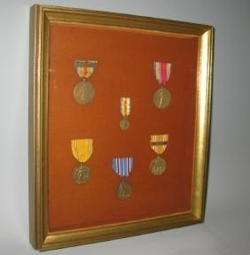 WWII ATLANTIC FLEET FRAMED MEDALS & RIBBONS