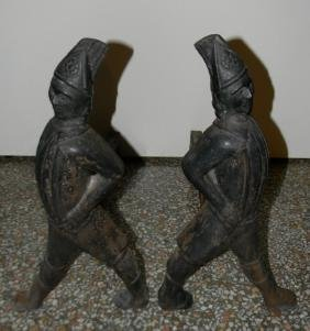 PAIR CAST IRON ANDIRONS HESSIAN RED COAT SOLDIER