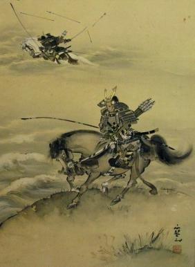JAPANESE PAINTED HANGING SCROLL W/ SAMURAI ARCHERS