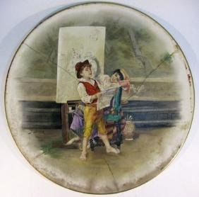 LARGE EUROPEAN PAINTED SIGNED CERAMIC CHARGER