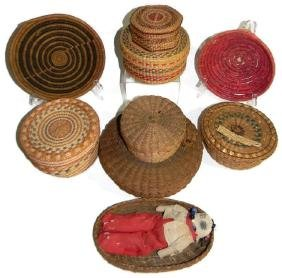 NATIVE AMERICAN WOVEN GRASS & PINE NEEDLE BASKETS