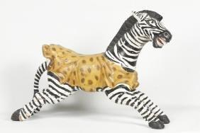 Vintage Carved & Painted Zebra Carousel Figure