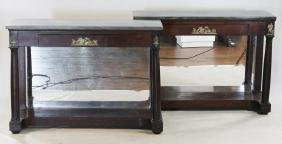 Pair American Classical Mahogany Pier Tables