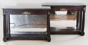 Pair American Classical Mahogany Pier Tables