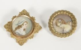 Two French School Watercolor Portrait Miniatures