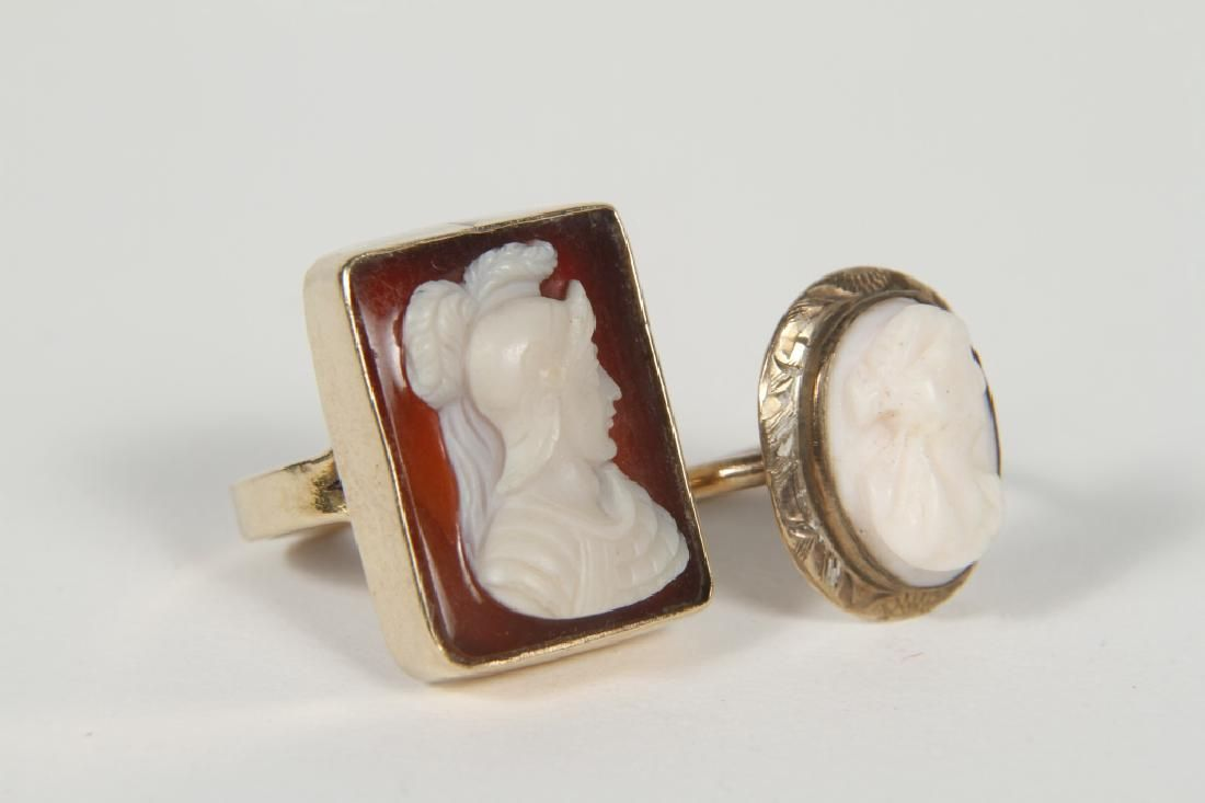 Two Antique Gold Victorian Cameo Rings