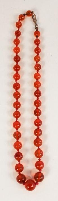 Antique Carnelian Agate Stone Necklace