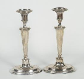 Good Pair Edwardian Silver Plate Candle Sticks