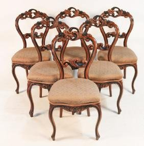 Set Six Victorian Walnut Dining Chairs