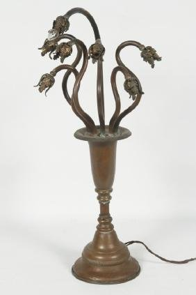 Very Interesting Art Nouveau Bronze Lamp
