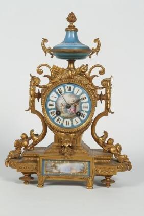 Antique French Gilt Bronze & Porcelain MantleClock