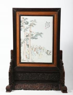 Antique Chinese Porcelain & Hardwood Table Screen