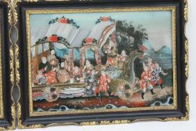 Very Fine Pair Chinese Reverse Paintings On Glass