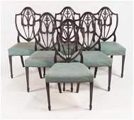Set Six Hepplewhite Style Dining Chairs