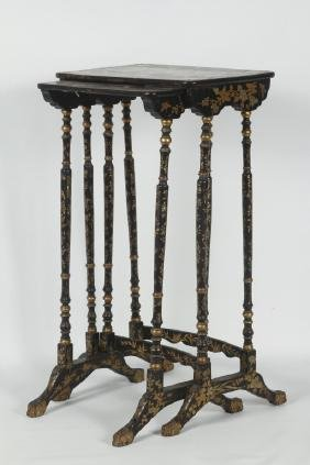 Pair Chinoiserie Decorated Nesting Tables