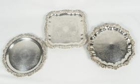 Three Quality Silver Plate Serving Trays