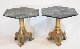 Pair French Gilt Brass & Marble Tables