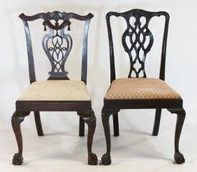 Pair Chippendale Style Mahogany Side Chairs