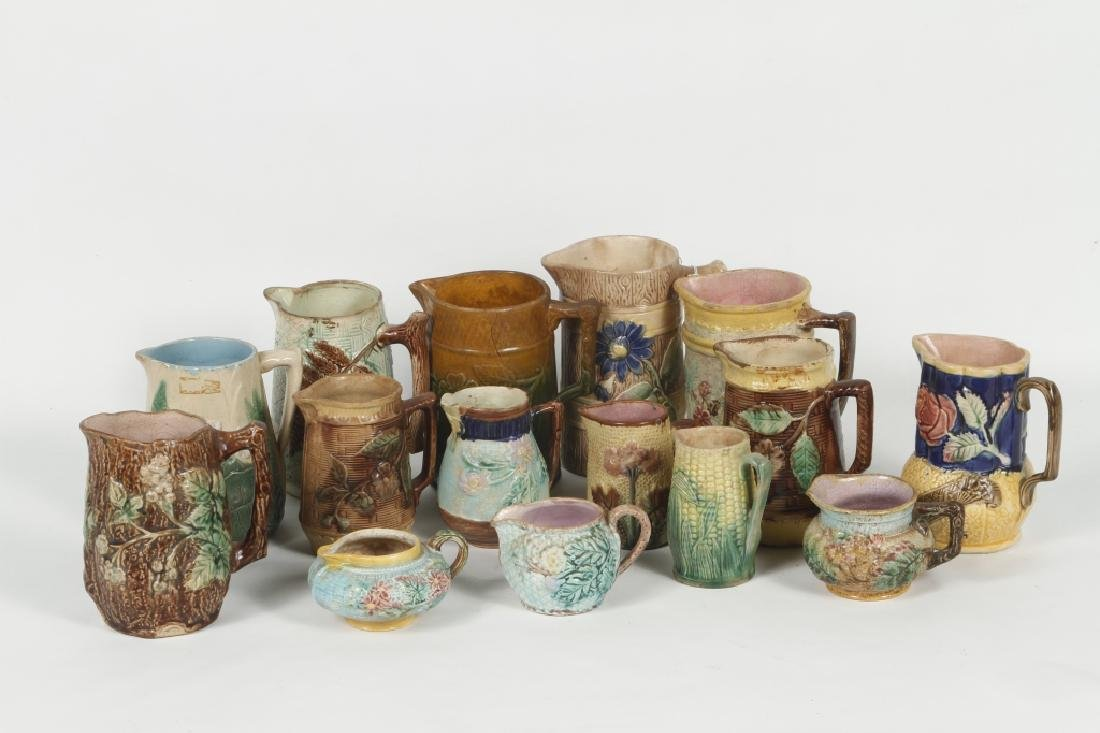 Collection Antique Majolica Pottery Pitchers & Cre