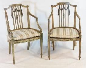 Pair Hepplewhite Style Painted Chairs