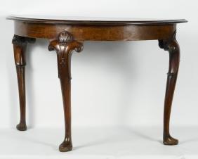 Irish Chippendale Mahogany Demilune Table
