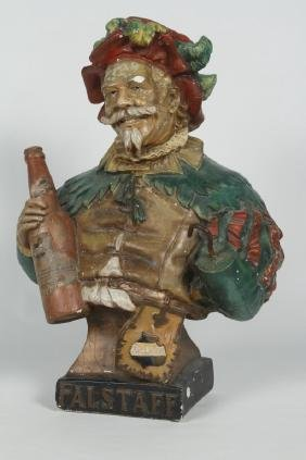 Vintage American Chalk Ware Beer Advertising Bust