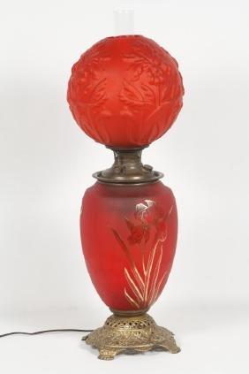 Large Bradley & Hubbard Glass & Brass Oil Lamp