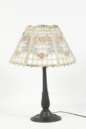 Arts & Crafts Painted Slag Glass & Iron Table Lamp
