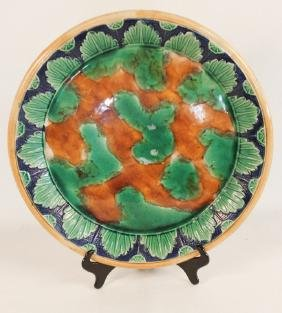 Large Antique Majolica Pottery Charger