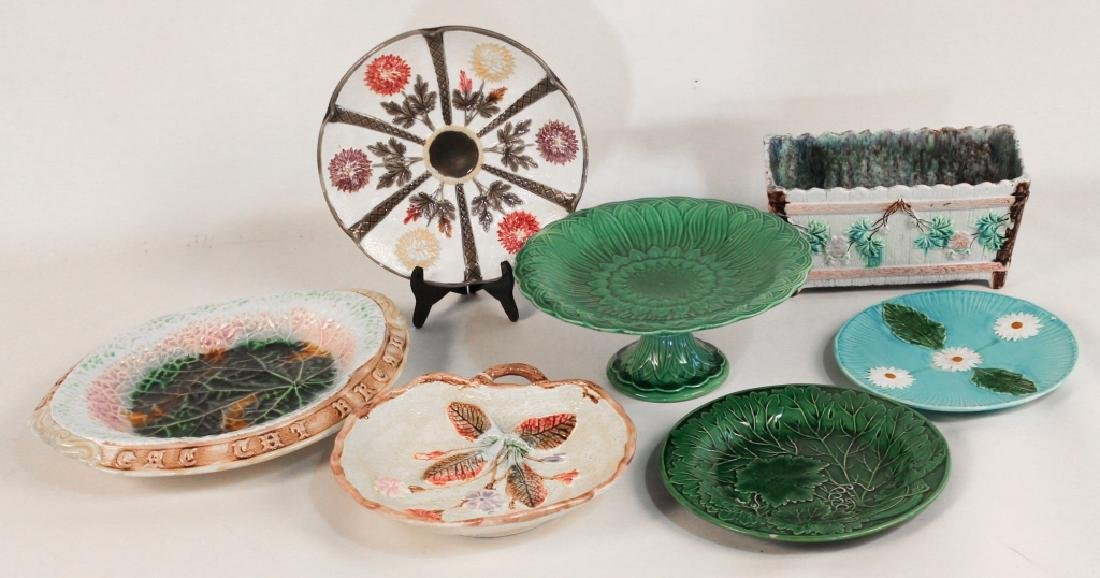 Collection Seven Antique Majolica Articles