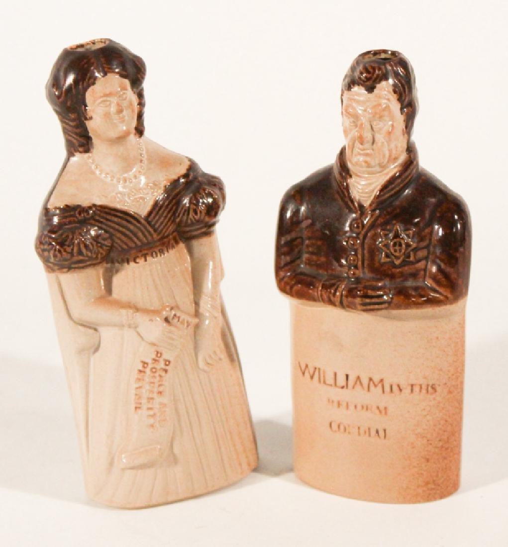 Pair British Salt Glazed Stoneware Figural Bottles