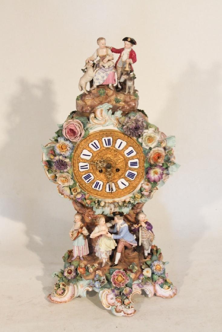 Meissen Porcelain Mantle Clock by Lenzkirk