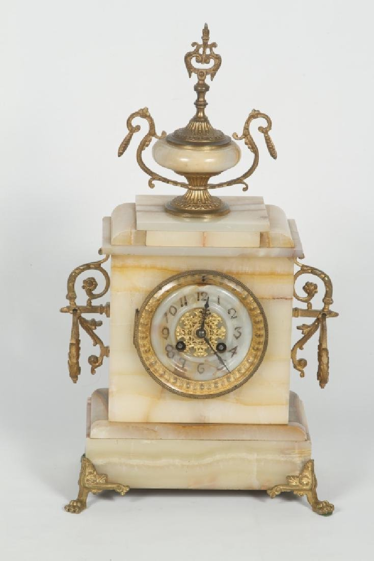 French Onyx & Gilt Bronze Mantle Clock