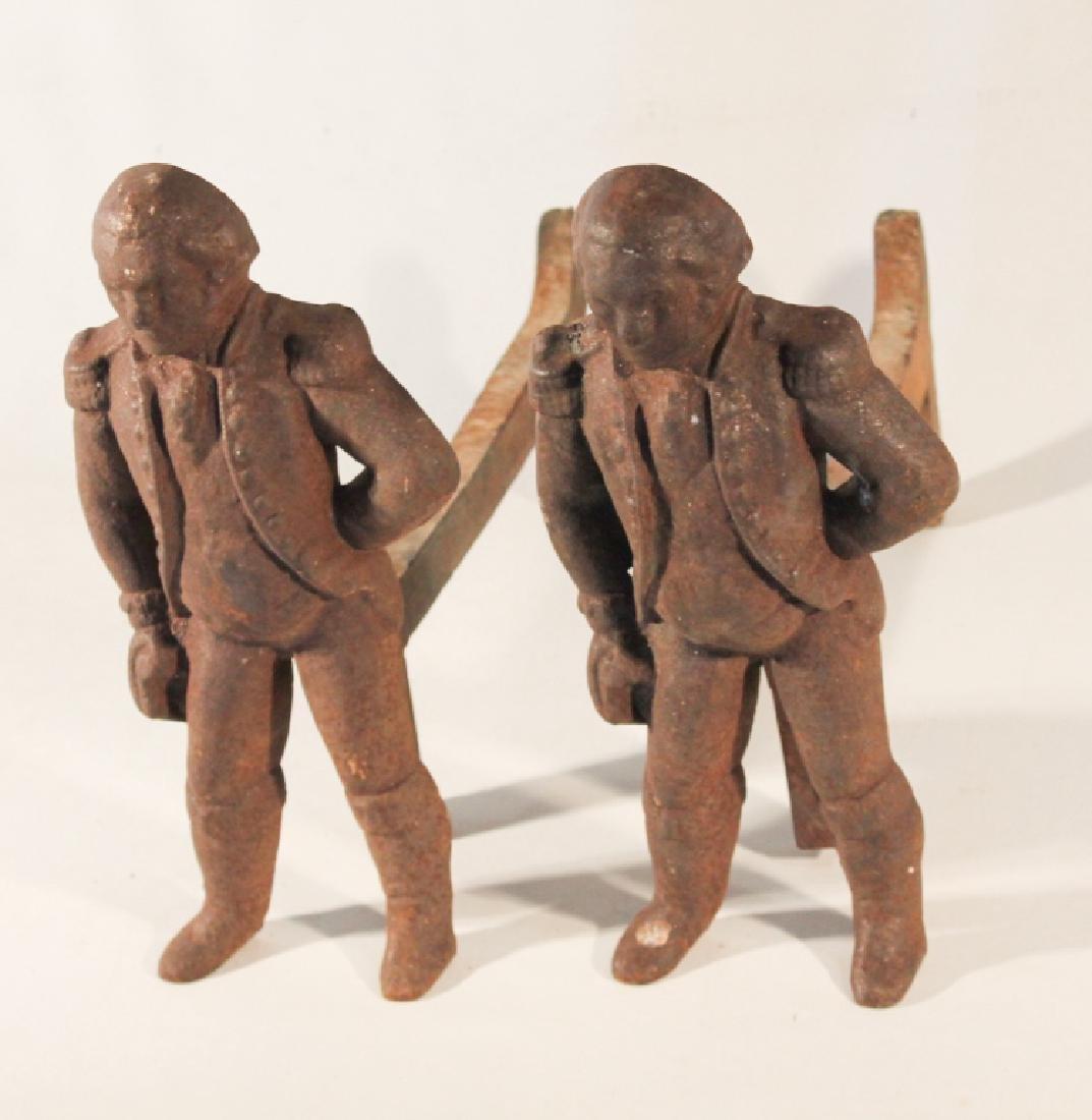 antique george washington cast iron andirons