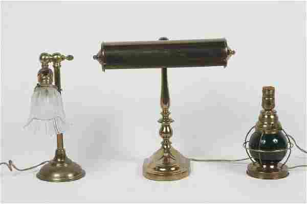 Collection Three Vintage Brass Desk Lamps