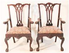 Pair Carved Chippendale Style Mahogany Side Chairs
