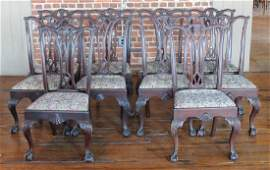 Ten Chippendale Style Carved Mahogany Dining Chair