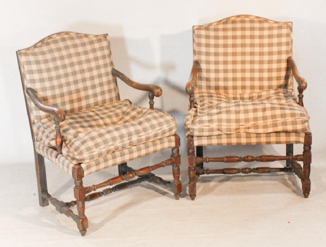 Pair French Provincial Style Painted Arm Chairs