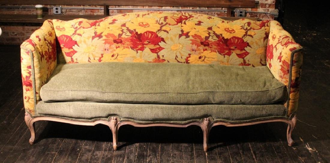 French Carved Upholstered & Polychrome Sofa