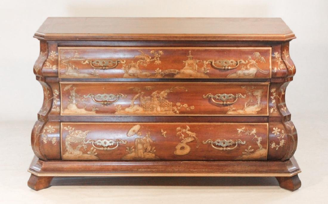 Chippendale Style Japanned Bombe Chest of Drawers