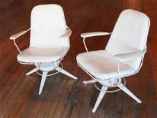 Pair Mid Century Metal & Vinyl Lounge Chairs