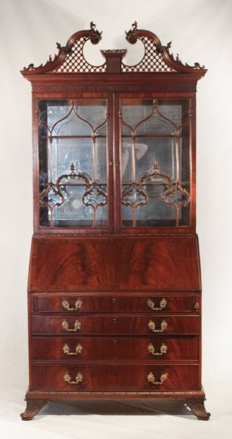 Bold Carved Chinese Chippendale Secretary Bookcase