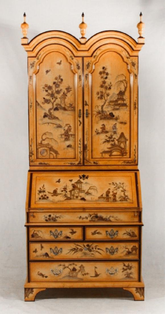 Queen Anne Style Japanned Secretary Bookcase