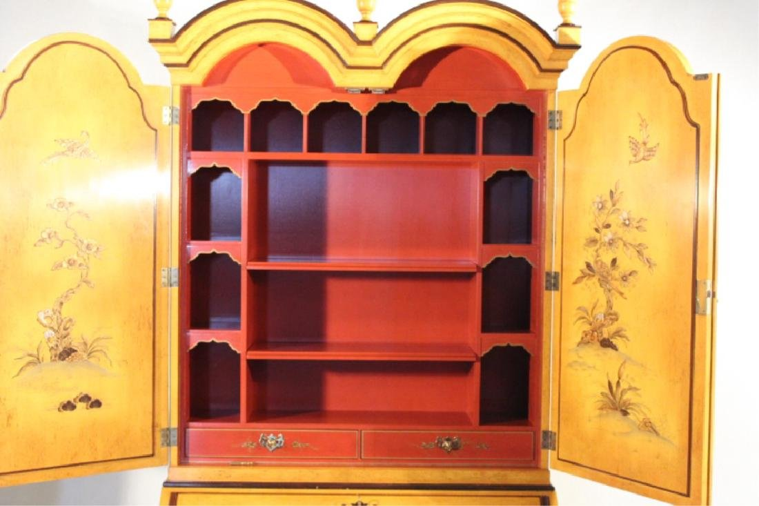 Queen Anne Style Japanned Secretary Bookcase - 8