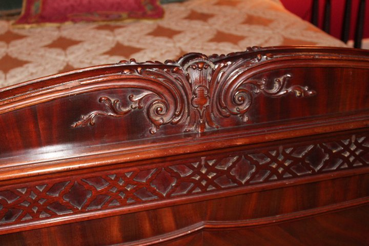 Chippendale Style Carved Mahogany Canopy Bed - 10