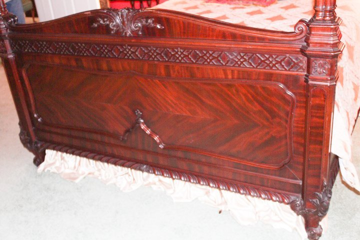 Chippendale Style Carved Mahogany Canopy Bed - 2