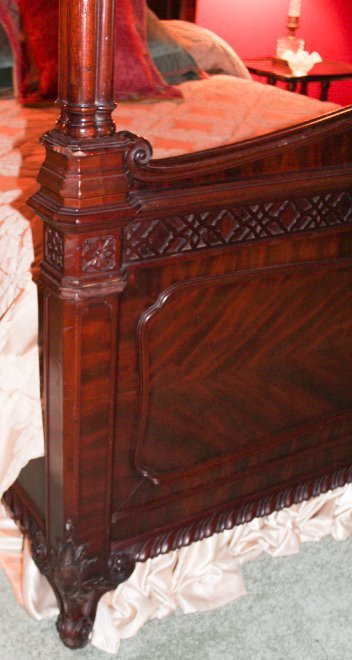 Chippendale Style Carved Mahogany Canopy Bed - 5