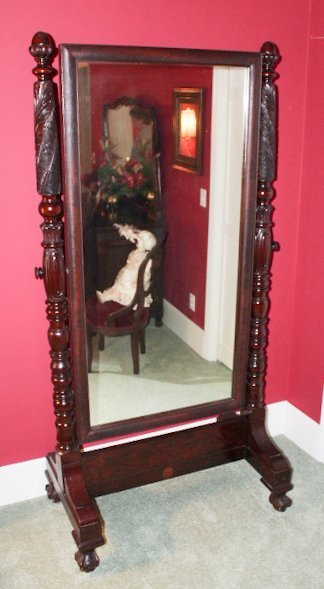 Signed Federal Carved Mahogany Dressing Mirror