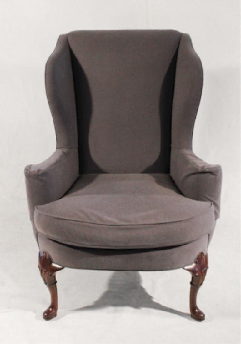 Upholstered Queen Anne Style Wing Chair
