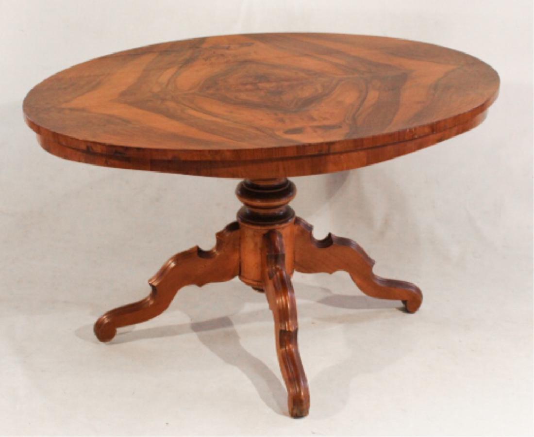 Victorian Figured Walnut & Fruitwood Center Table